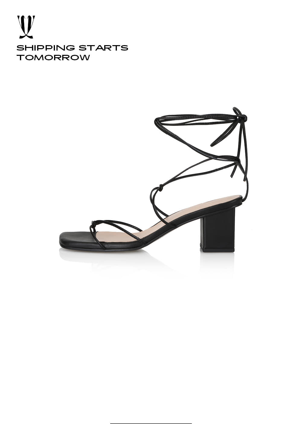 [EXPRESS] Y.01 Jane Candy Lace-Up Sandals / YY20S-S49 / BLACK / IT 38