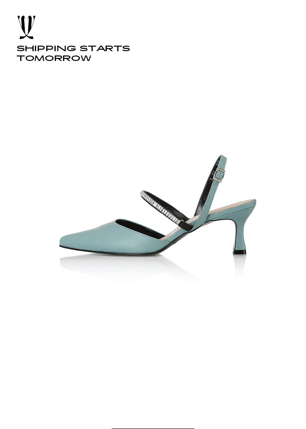 [EXPRESS] Y.00 Crystal Cubic Mary-Jane Sandals / YY20S-S41 / TEAL BLUE / IT 39